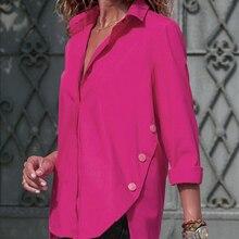 Sexy V Neck Chiffon Shirts Womens Fashion Long Sleeve Irregular Blouses Solid Color Turn-Down Collar Ropa Mujer