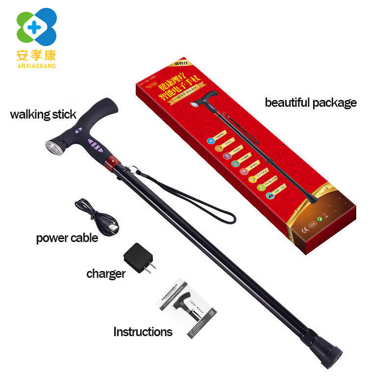 ANXIAOKANG Smart FM Radio Old Man Walking Stick Lighting Alarm Telescopic Musical Ultra Light Music Electronic Cane for Elderly