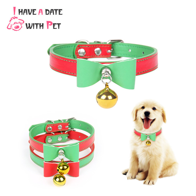 Quality Leather Pet Dog Collar With Bell  Cute Bow Christmas Small Dog Collars Cat Necklace Leash for Medium Dog Puppy Collar