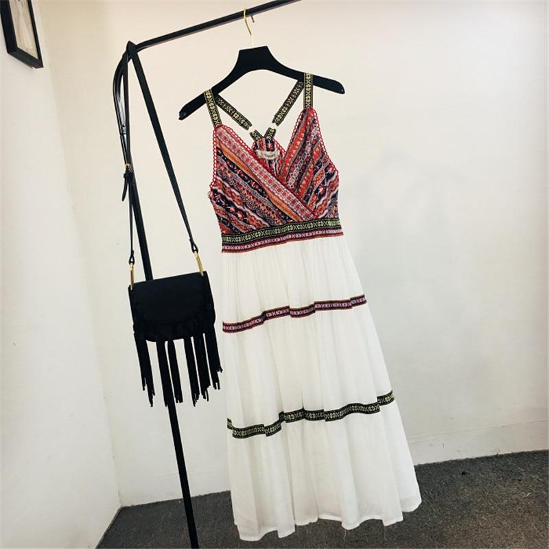 1196cea364018 2019 Summer Sexy Spaghetti Strap Women's Boho Beach Maxi Dresses Designer  Patchwork Ladies Chiffon Long Dresses