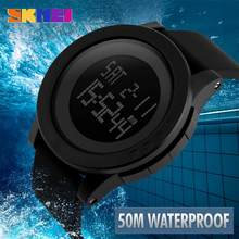 SKMEI 1142 Fashion Black Men's Rubber Band Digital Army Military Quartz Sport Wrist Watch LED Luminous Waterproof Students' Elec(China)
