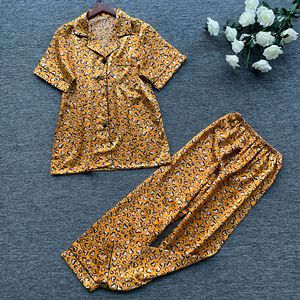 Image 5 - 2019 wiosna kobiety śliczne zestawy piżam z spodnie Satin Pijama kwiat drukuj piżama Nightsuit jedwabna bielizna nocna Pijama Homewear