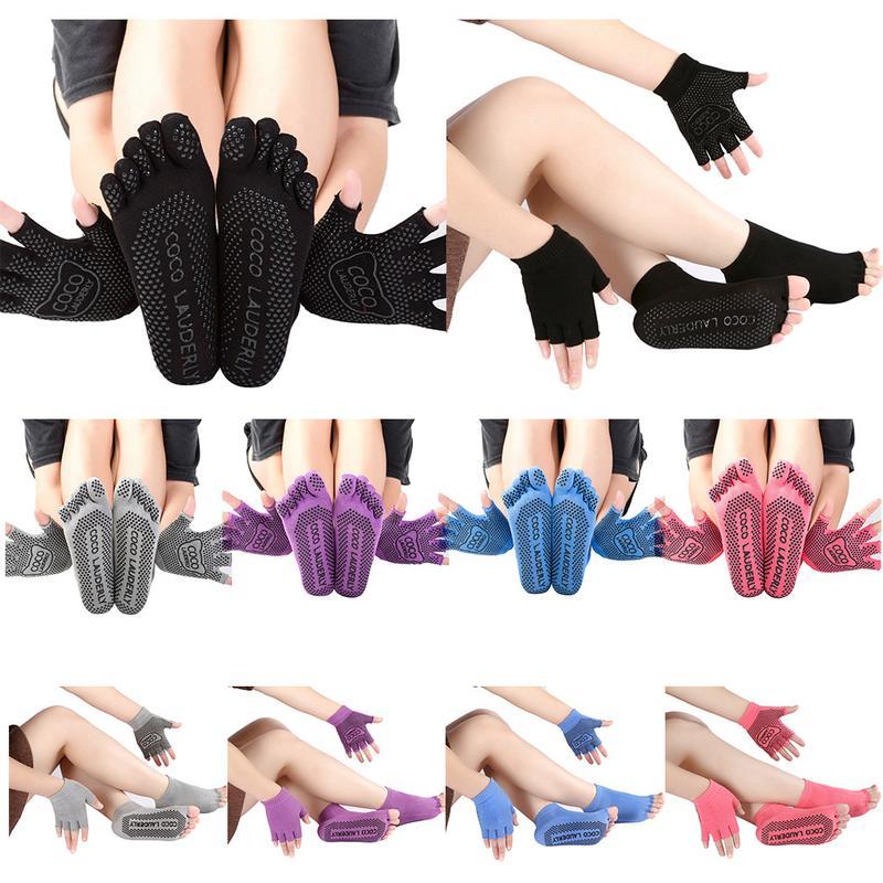 Yoga Nonslip Deodorant Design Gloves Full Finger Socks Suit Pure Cotton Socks Sports Toe Sweat Absorbing Anti Friction Socks