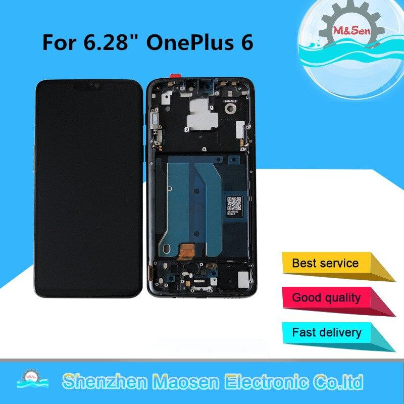 """6.28 """"oryginalna Super Amoled M & Sen dla OnePlus 6 Oneplus 6 jeden Plus 6 ekran wyświetlacz LCD + Digitizer Panel dotykowy wymiana ramki"""