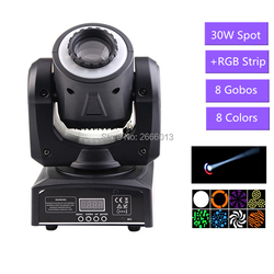 30W LED Spot Moving Head  Stage Effect Lighting With RGB LED Light Strip Good For DJ Disco Home Party Bar DMX LED Patterns Light