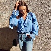 Female Ladies Chiffon Blouses Women Fashion Long Sleeve Shirts Elegant V Neck Ruffles Tops