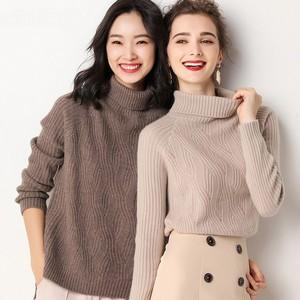 Image 3 - באיכות גבוהה סתיו חורף נשים קשמיר צמר גולף סוודר סוודרי חם רך רופף מזדמן בציר אופנה פראי מוצק