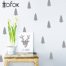 Tofok 18pcs/set Pine Trees DIY Vinyl Wall Sticker Nordic Style Bedroom Kids Room Art Mural Decals Removable Dorm Office Decor(China)
