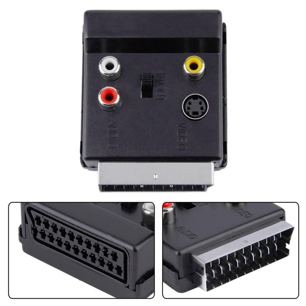 New 1Pc Scart RGB Male To Female -Video 3 RCA Audio AV TV Connector Adapter Converter Useful