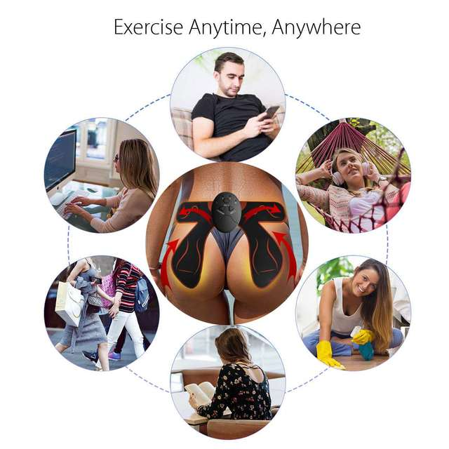 Unisex EMS Hips ,Abdomen Trainer Electric Muscle Stimulator Household Wireless Buttocks Abdominal ABS Stimulator Fitness Body  Massager – Red