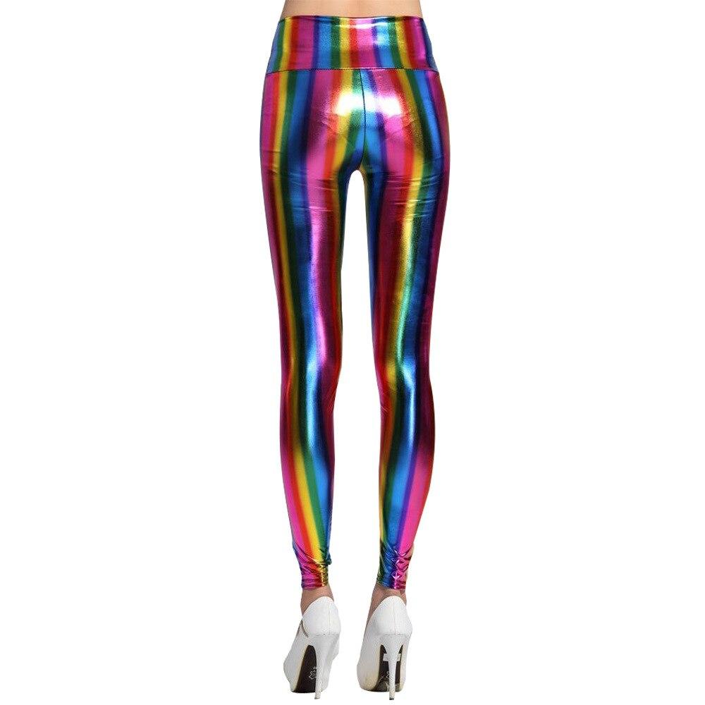 Woman Rainbow Elastic Leggings PU Leather Colorful Pants Pencil Trousers Women Stretch Capris Spring Summer Autumn Leggings
