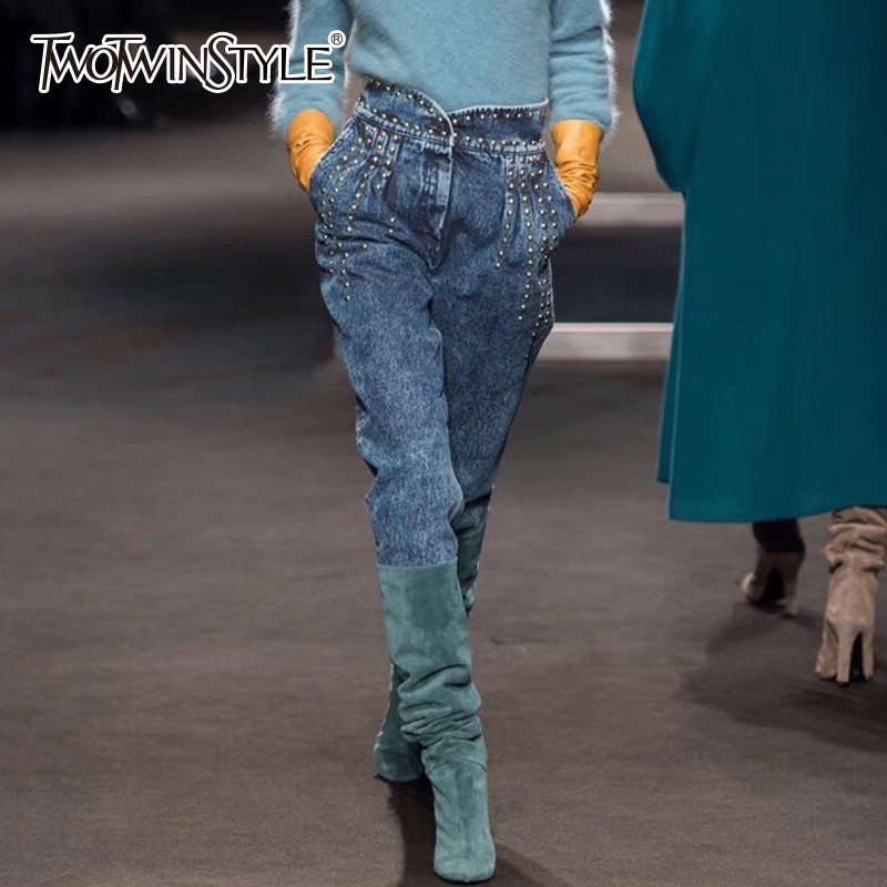 TWOTWINSTYLE Denim Trousers For Women High Waist Patchwork Heavy Rivets Long Jeans Female 2019 Spring Streetwear Fashion Tide