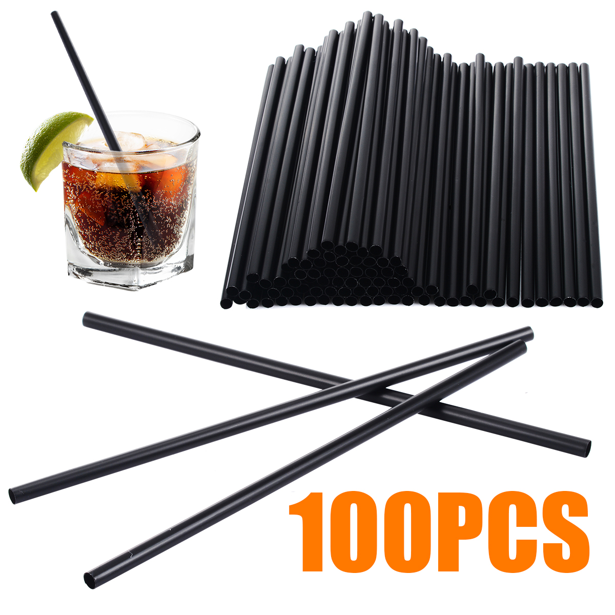 100pcs/set Disposable Drinking Straws Mini Cocktail Straws Black Plastic Party Straws For Wedding Event Party Supplies 130mm