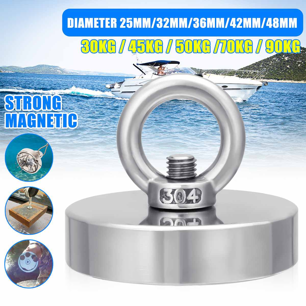 10-48mm Recovery Magnet Hook Strong Sea Fishing Diving Treasure Hunting Magnets