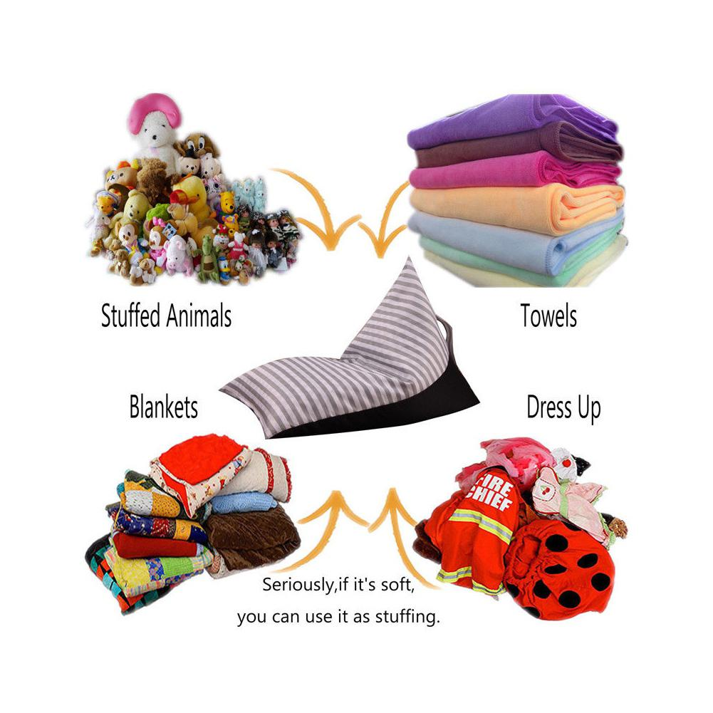 Image 5 - Storage Bean Bag Large Chair Stripe Pouch Chair Sofa Stuffed Toy Storage Bag Back Support-in Bean Bag Sofas from Furniture