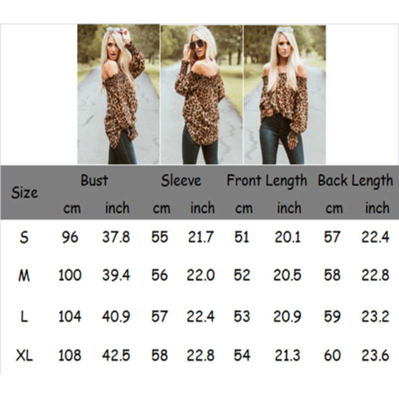 セクシーなスタイルの女性ヒョウシャツオフショルダー印刷トップスプルオーバーシックな女性ブラウススタイリッシュなファム Blusa シャツ服