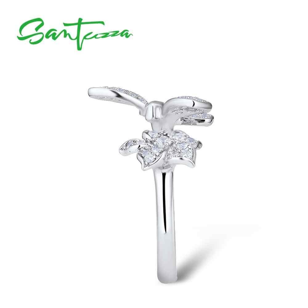 SANTUZZA แหวนเงิน 925 เงินสเตอร์ลิง Gorgeous แหวนผีเสื้อสีขาวเงา Cubic Zirconia แฟชั่นเครื่องประดับ