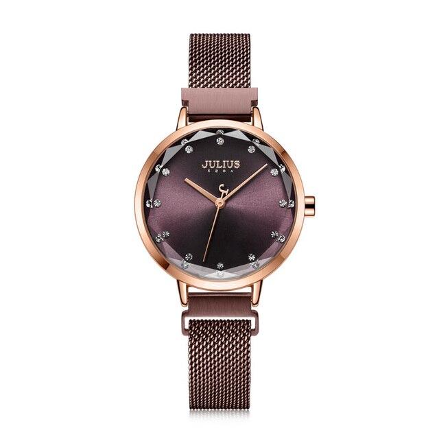 Fivela magnética julius lady relógio feminino miyota moda horas pulseira de aço inoxidável relógio de negócios presente aniversário da menina