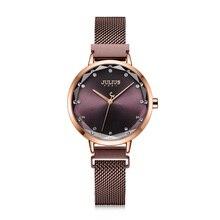 מגנטי אבזם יוליוס גברת נשים של שעון MIYOTA אופנה שעות נירוסטה צמיד עסקי שעון של הילדה יום הולדת אריזת מתנה