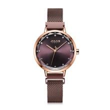 Magnetic Buckle Julius Lady Womens Watch MIYOTA Fashion Hours Stainless Steel Bracelet Business Clock Girls Birthday Gift Box