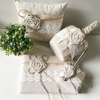 5pcs/set Wedding Decoration Accessories Burlap Guest Kits Guest Book Silver Pen Flower Girl Basket Ring Pillow And Pen Holder