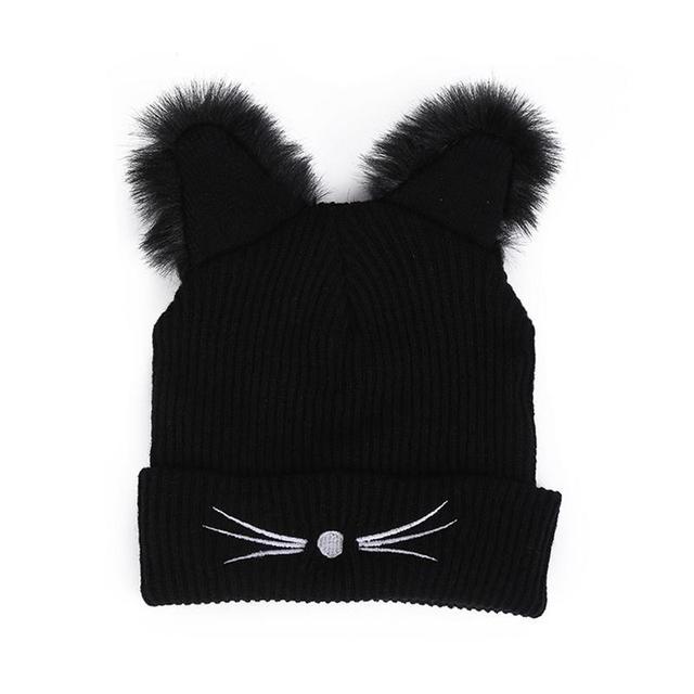 Invierno cálido sombrero de moda encantadora oreja de gato para mujeres Harajuku de punto de lana sombreros sombrero mujer sombrero visón Faux