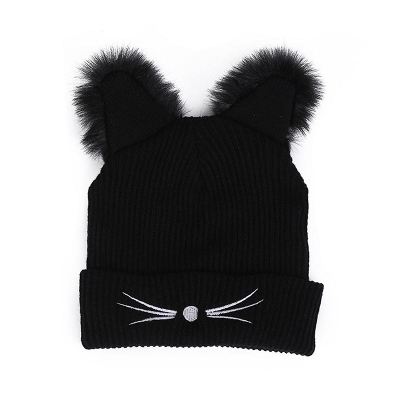 Warm Winter Hat Fashion Lovely Cat Ear For Women Harajuku Wool Knitted Hats   Skullies   Female   Beanies   Bonnet Faux Mink