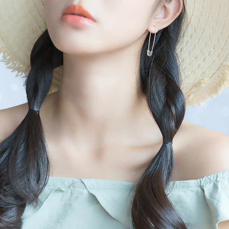 2019 2Pcs Women Fashion 100% 925 Sterling Silver Paper Clip 3.7cmX0.7cm Earring For Girl Lady Madam Jewelry