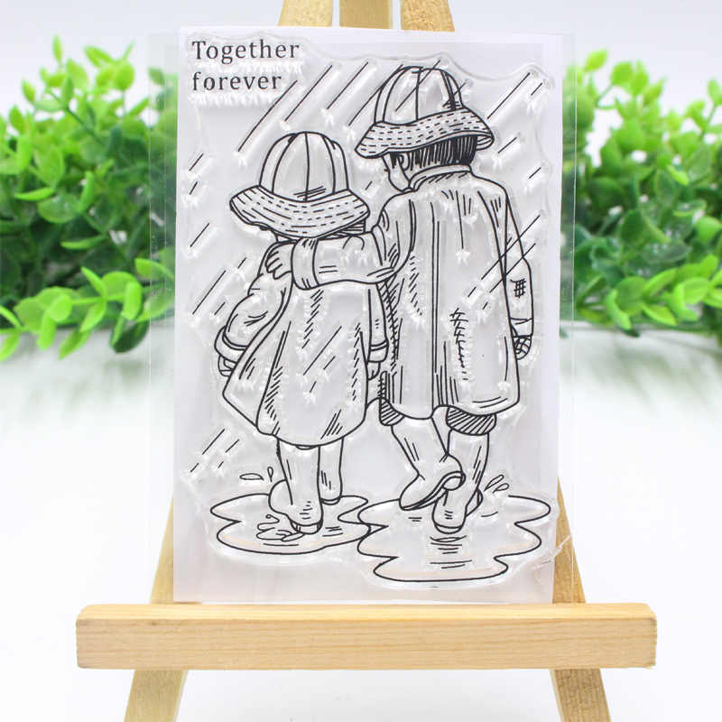 Lovely married couple Clear stamps Rain Girl FLower stamps clear rubber transparent stamp for DIY scrapbooking paper card craft