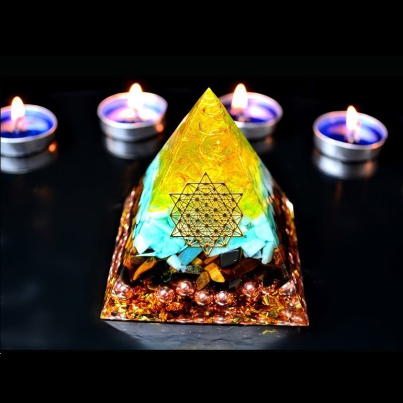 AURA REIKI Orgonite Rune High Frequency Energy Pyramid Aogen Chakra Crystal Decorations Bringing Fortune To Bring Good Luck Gift