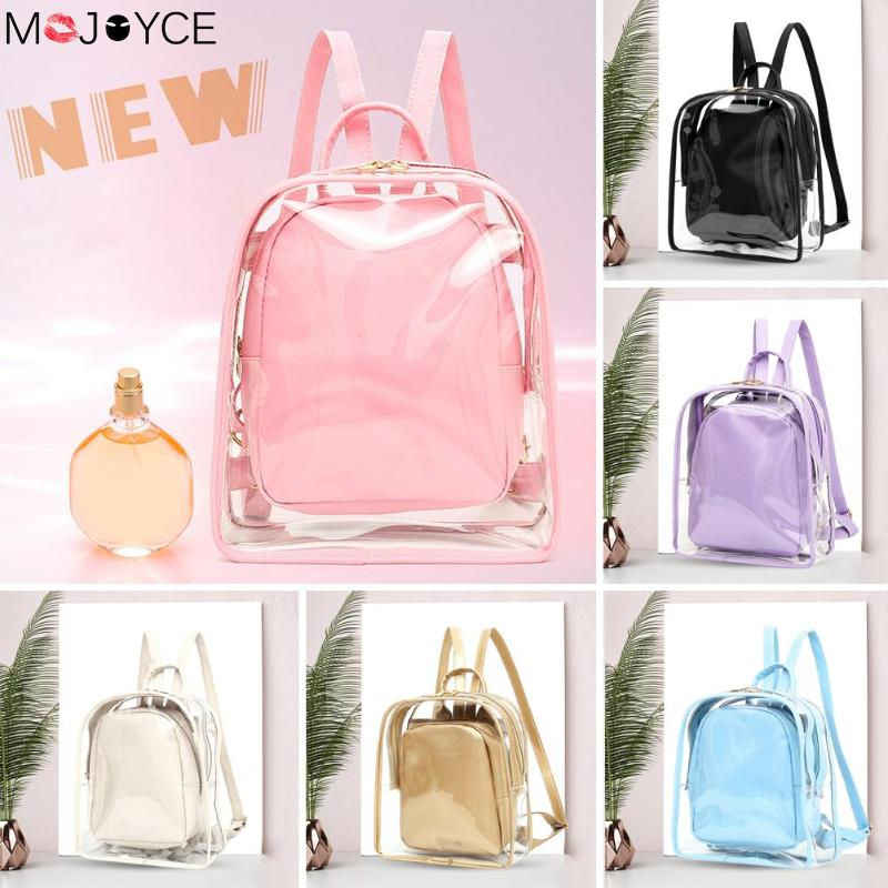 2pcs New Fashion Backpack  Women Transparent PVC Backpack Casual Girls Travel Jelly Shoulder Bags Cute Girl Soild Color Backpack