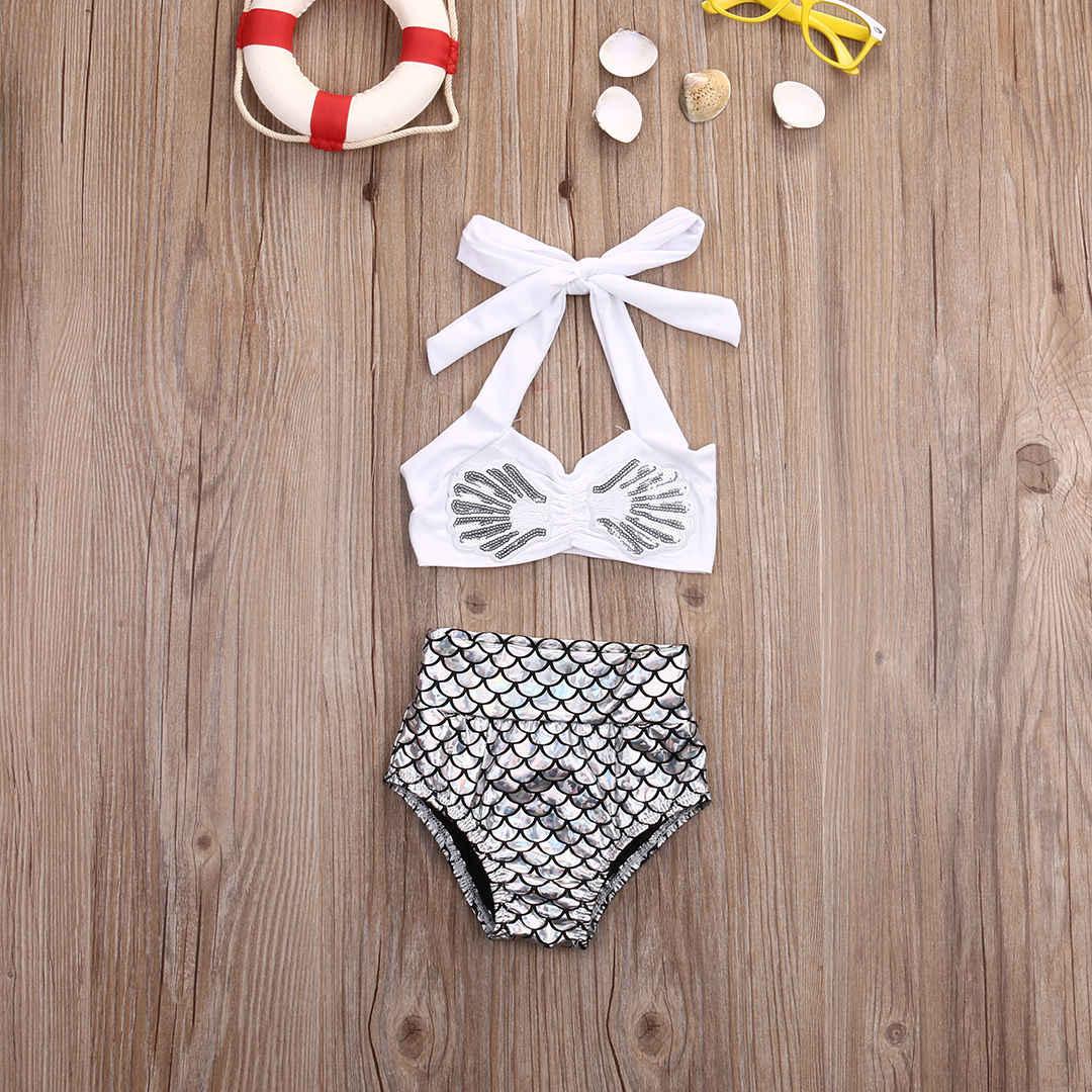 น่ารักเด็กทารก 2 Pcs ชุดบิกินี่แฟชั่นเด็กวัยหัดเดินปลาชุดว่ายน้ำเด็ก Mermaid ชุดว่ายน้ำเด็กชุดว่ายน้ำชุด