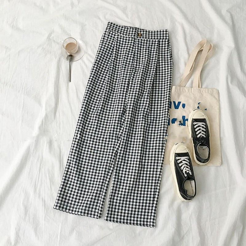 Vintage Black Khaki Plaid Japanese Harajuku Summer   Pants   Women Casual Drawstring Ankle Length Loose Wide Leg   Pants