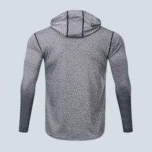 Men's Running T Shirt Long Sleeve Hoodie Slim Dry Fit Breathable Crossfit Sport.