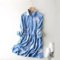 Joyinparty Fashion Women Floral Embroidery Tencel Denim Dress down Collar half sleeves Casual Light Blue Dress Summer