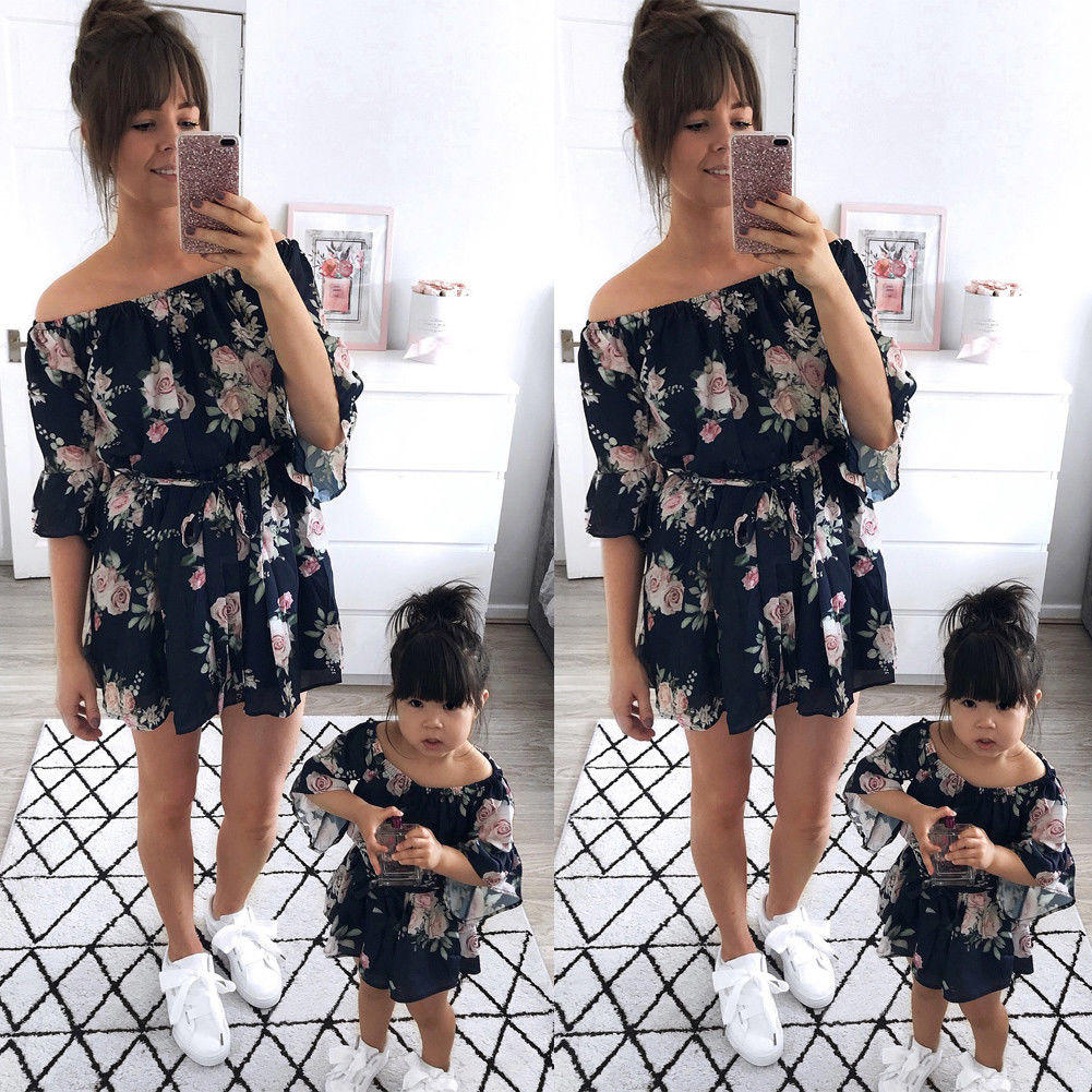 Pudcoco Family Dress US Mother Daughter Girl Boho Clothes Parent-child Dress Family Matching Outfits