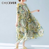 CHICEVER Print Dress For Women Short Sleeve Short Sleeve Loose Big Size Oversize Summer Dresses Female Clothes Fashion 2019 New