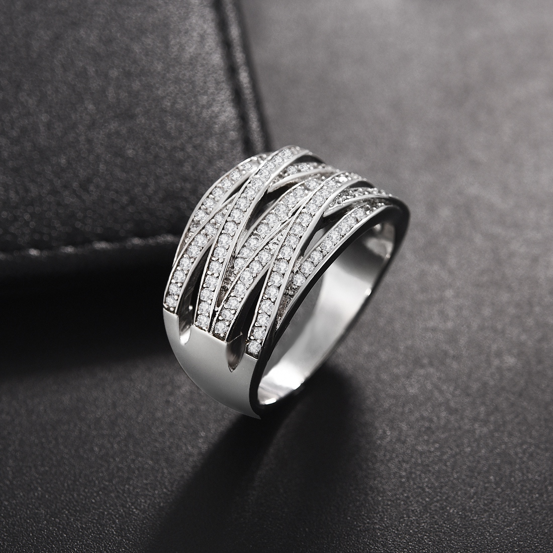 2019 New CZ Zircon Stone Silver Wedding Engagement Ring Hoop Earrings Jewelry Set For Women Fashion Jewelry