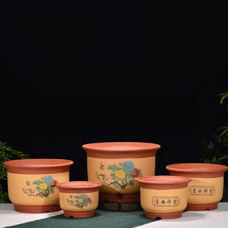 Miniature Bonsai Pots Purple Clay Flower Pots All Handmade Painted Flowerpot Small Size Desktop Flower Pots Free Shipping