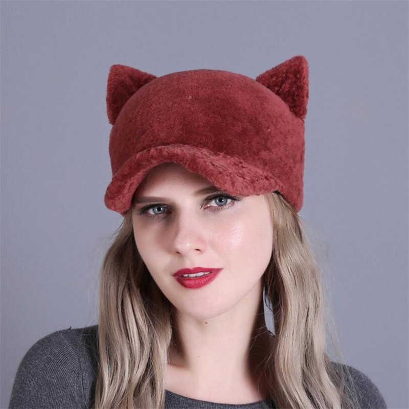 IANLAN 冬女の子かわいい猫耳キャップピークドファッションレディースフル毛皮羊せん断クリケットキャップ厚い綿ライナー帽子 IL00340