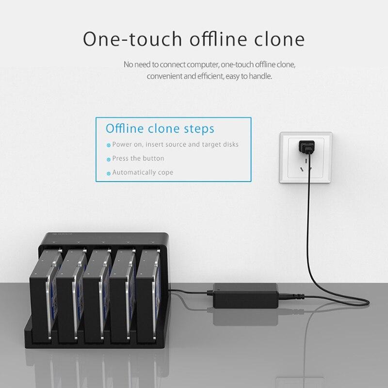 Orico 6558Us3-C 5 baie Super vitesse Usb 3.0 HDD Station d'accueil sans outil USB 3.0 vers SATA boîtier de boîtier de disque dur adaptateur - 2