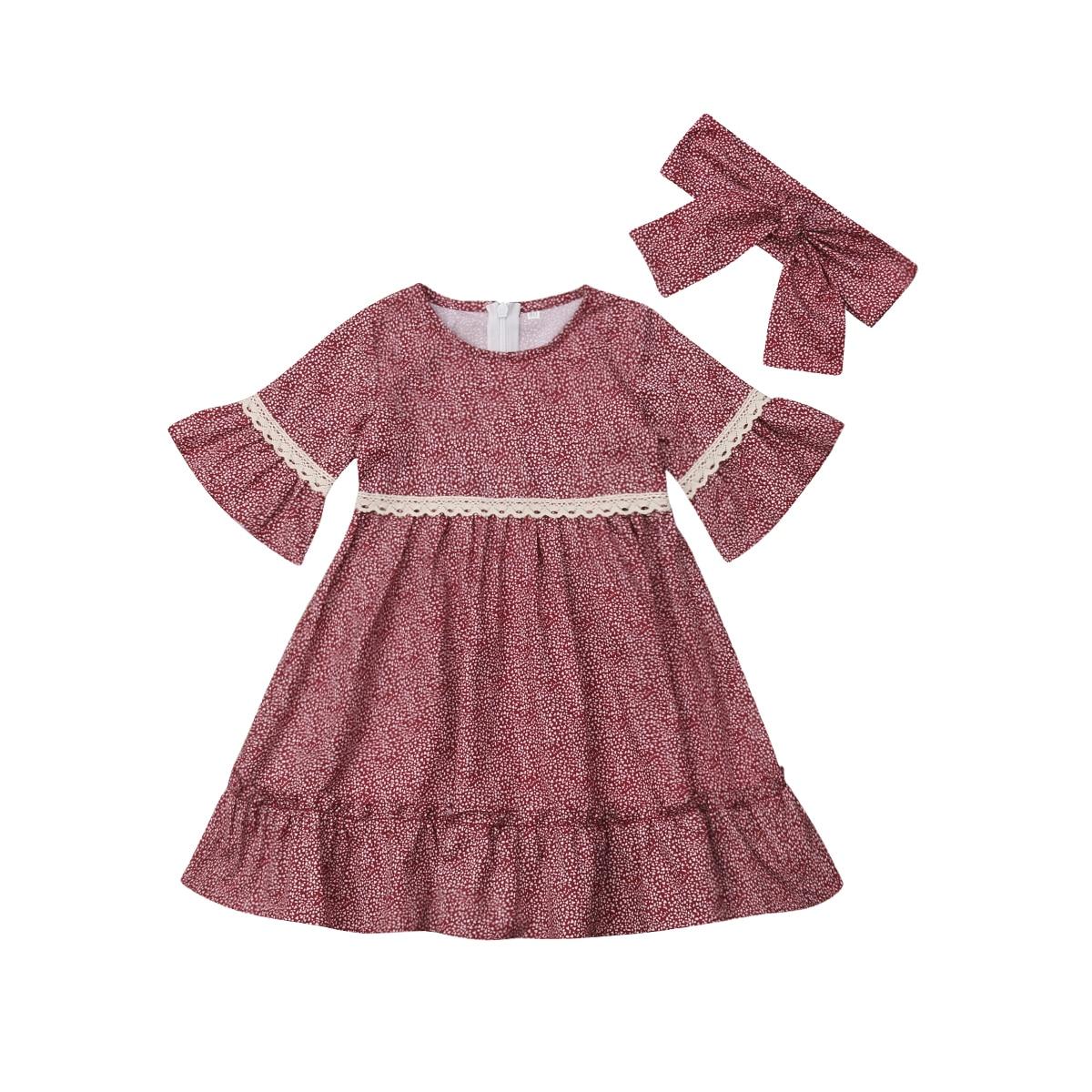 Kids Toddler Girl Floral Dress Long Sleeve Party Pageant Princess Tutu Dress