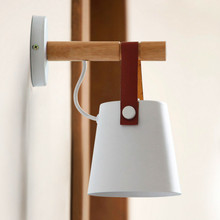 Nordic LED Wall Lamps Abajur for Living Room Wall Sconces Light E27 Wooden belt Wall Light White/Black  E27 85-265V Bed Bedside цены