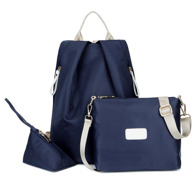 3 Pcs Women's Organizer Backpack Fresh Style Patchwork Faddish Travel Large Capacity Bag Handbag Waterproof Storage Bag