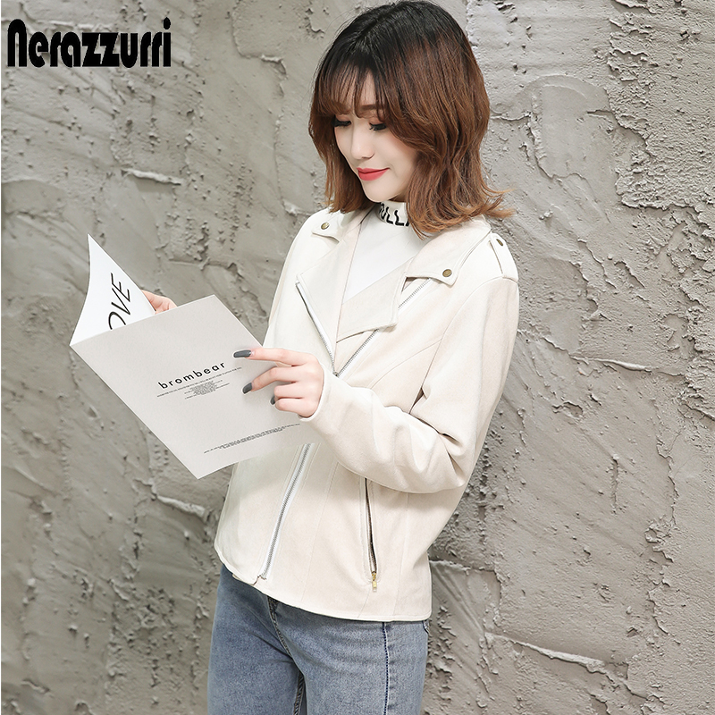nerazzurri brown   suede   jacket women 2019 black beige plus size ladies faux   leather   coat zipper short pu   leather   biker jacket 5xl
