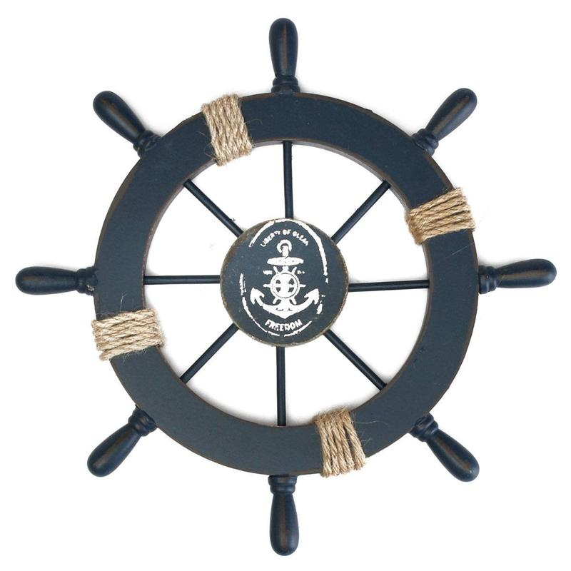 Mediterranean Nautical Wooden Boat Ship Wheel Helm Home Wall Party Decoration Dark Blue Figurines & Miniatures     - title=