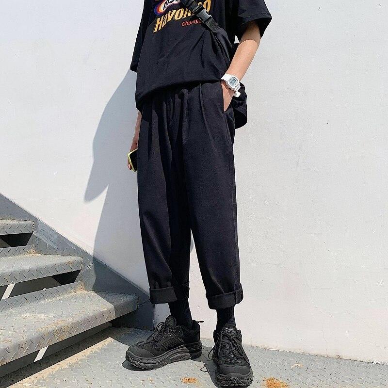 Image 3 - 2019 Mens Simple Leisure Mens Cotton Harem Pants Loose Fashion  Trend Black Color Casual Pants Male Trousers Plus Size M XL  -