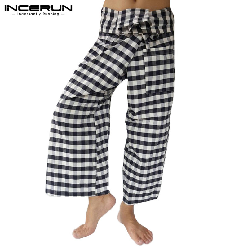 INCERUN 2019 Thai Fisherman Pants Men Plaid Lace Up Vintage Wide Legs Trousers Men Loose  Casual Pants Pantalon Hombre Plus Size