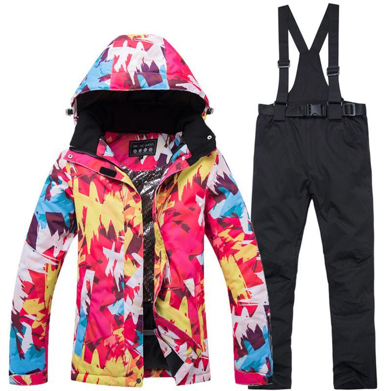 5 couleurs Sports de Plein Air Ski Costume de Femmes Hiver Chaud Et Coupe-Vent Imperméable Neige Sport Équipement De Ski vestes de Ski Et Pantalon