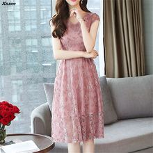 Summer Fashion New 2018 Hollow Out Elegant Lace Party Dress High Quality Women Short Sleeve Casual Dresses Xnxee